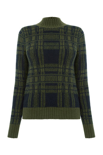 Oasis, STATEMENT CHECK JUMPER Khaki 0