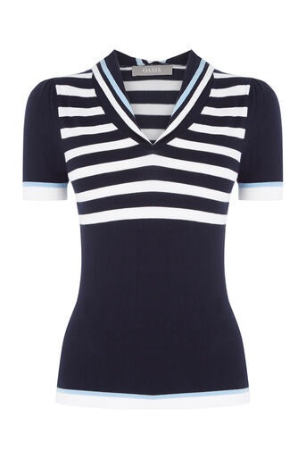 Oasis, Sailor Knitted Top Multi Blue 0