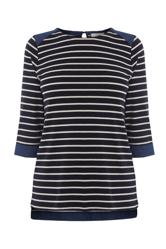 Oasis, CHAMBRAY CUFF BRETON TOP Navy 0
