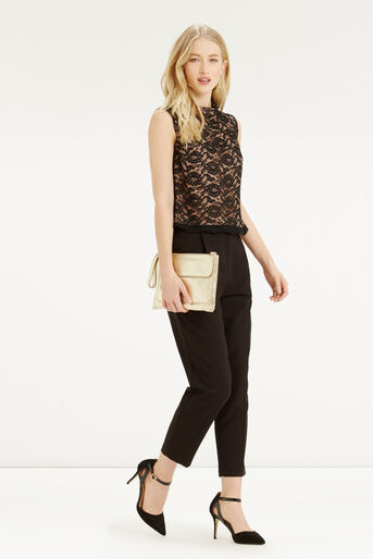 Oasis, Lace Frill Top Black 2