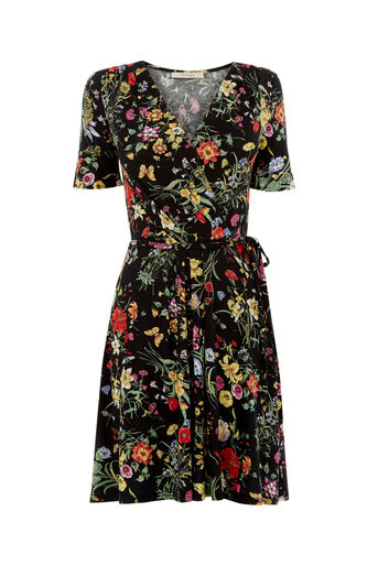 Oasis, SPRING BOUQUET WRAP DRESS Multi Black 0