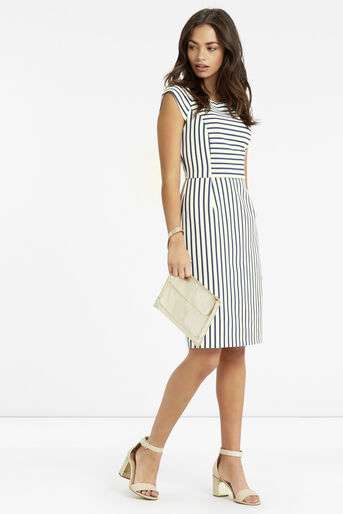 Oasis, Stripe Pencil Dress Multi Blue 2