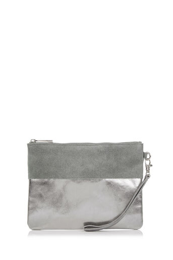Oasis, FLOSSY LEATHER PURSE Metallic Pewter 0