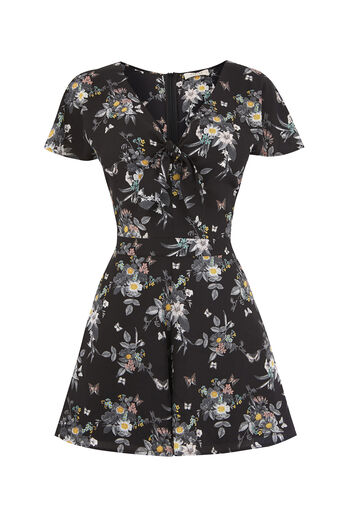 Oasis, PETAL TIE FRONT PLAYSUIT Multi Black 0