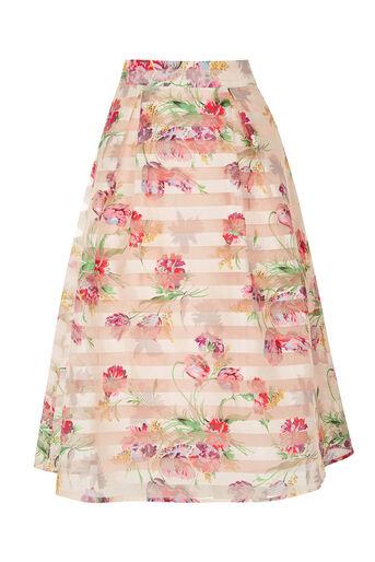 Oasis, Floral Organza Midi Skirt Multi Natural 0