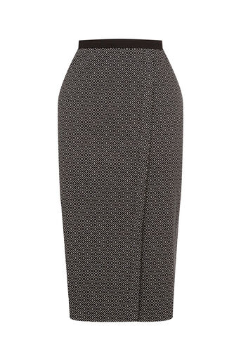 Oasis, Geo Wrap Pencil Skirt Black and White 0