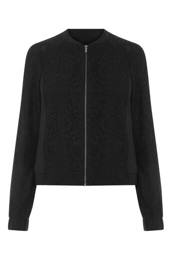 Oasis, LACE BOMBER JACKET Black 0