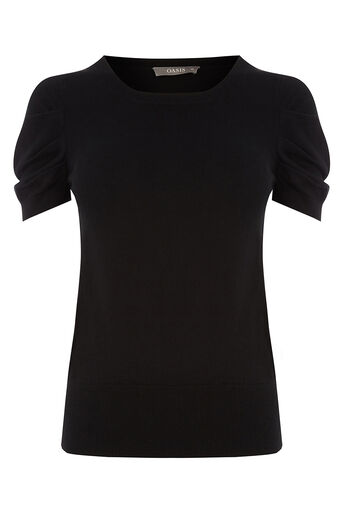 Oasis, LEG OF MUTTON SLEEVE KNIT Black 0