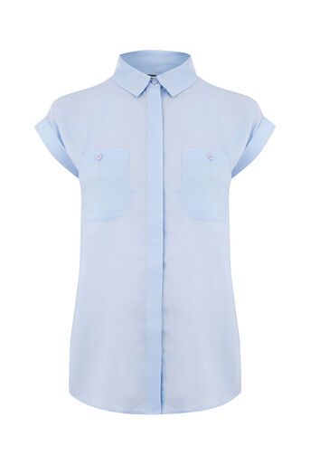 Oasis, SHORT SLEEVE COTTON SHIRT Mid Blue 0
