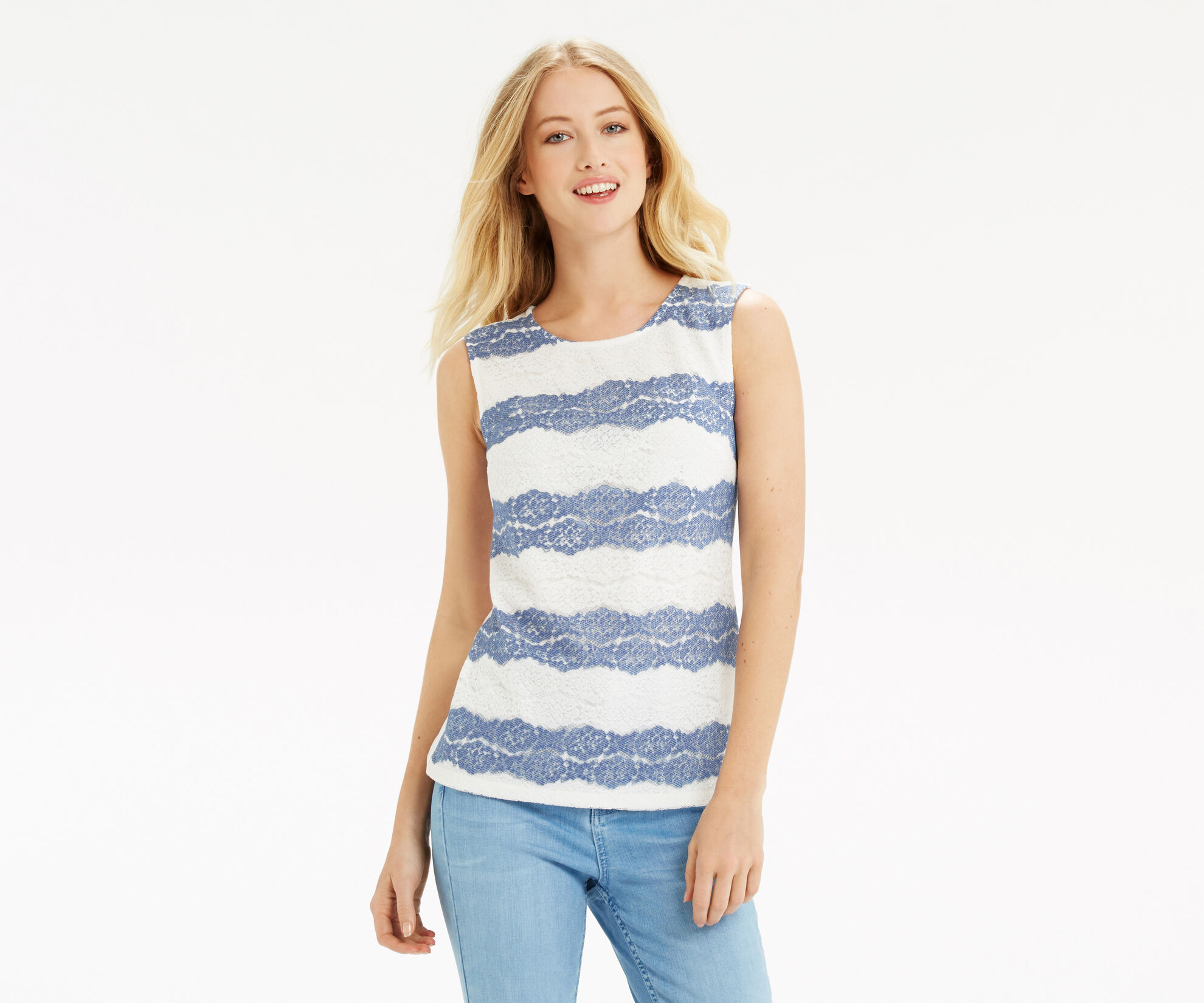Oasis, Chambray Lace Stripe Shell Off White 1