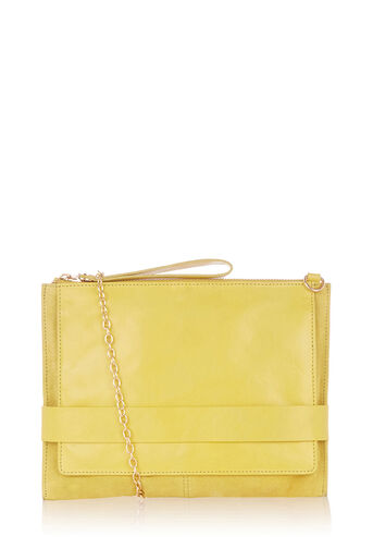 Oasis, LEATHER CROSS-BODY CLUTCH Mid Yellow 0