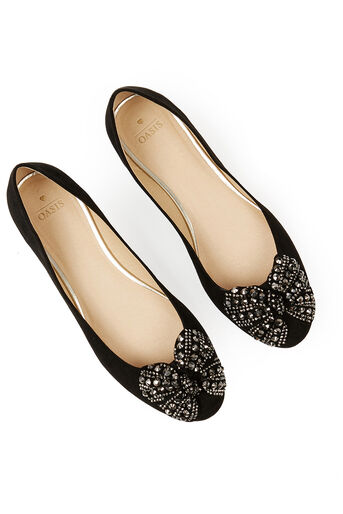 Oasis, Sparkle Bow Ballet Pumps Black 4