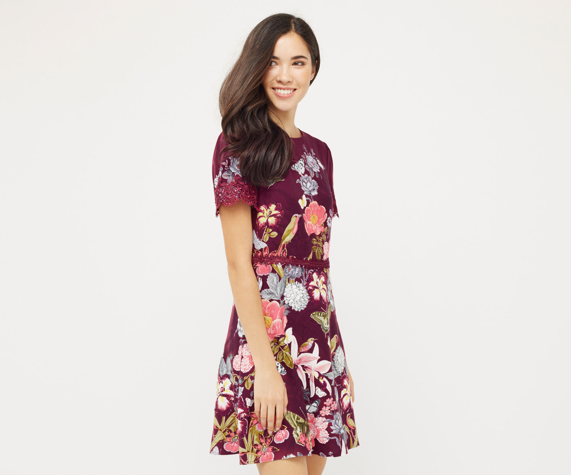 Oasis, BOTANY LACE DRESS Berry 1