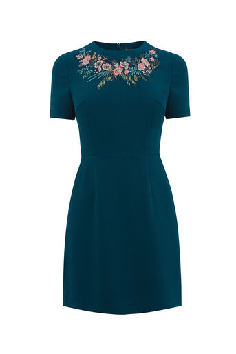 Oasis, AVA EMBROIDERED DRESS LONG Teal Green 0