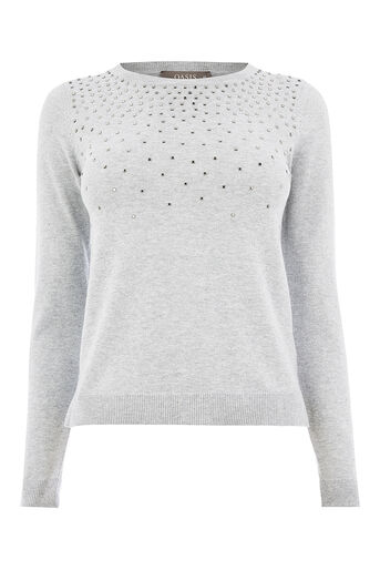 Oasis, Studded jumper Mid Grey 0