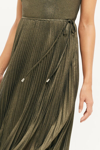 Oasis, Robe mi-longue plissée scintillante Doré 4