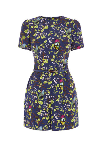 Oasis, TOPAZ BIRD PLAYSUIT Multi Blue 0