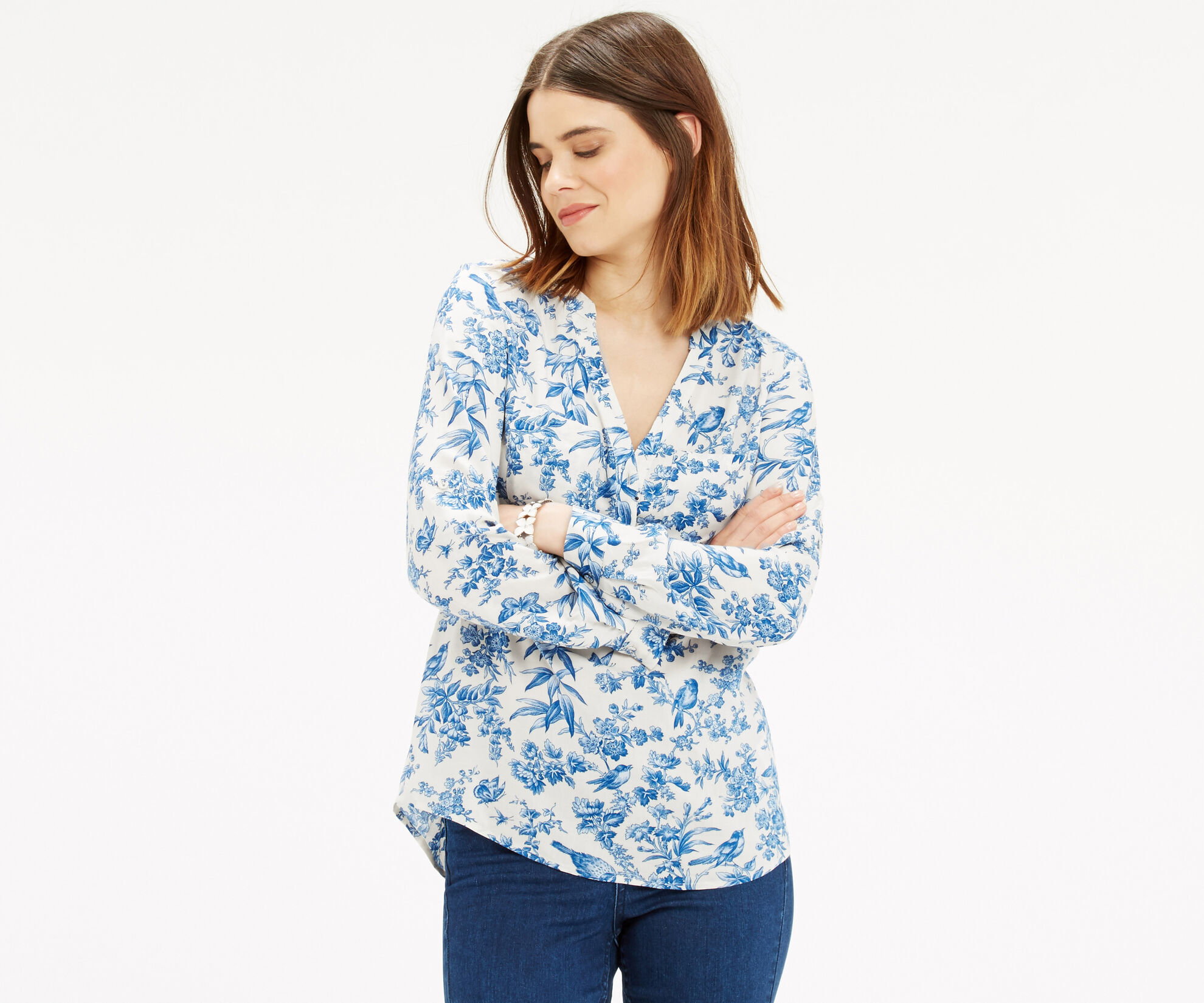 Oasis, Rosey Bird Viscose Shirt Multi Natural 1