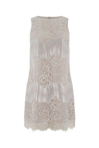 Oasis, METALLIC LACE SHIFT DRESS Silver 0