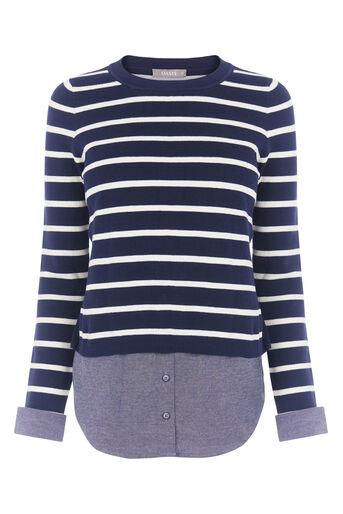 Oasis, stripe shirt tails top Multi Blue 0