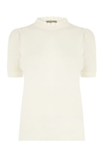 Oasis, FRILL SHEER SLEEVE KNIT Off White 0