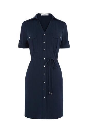 Oasis, Textured Shirt Dress Navy 0