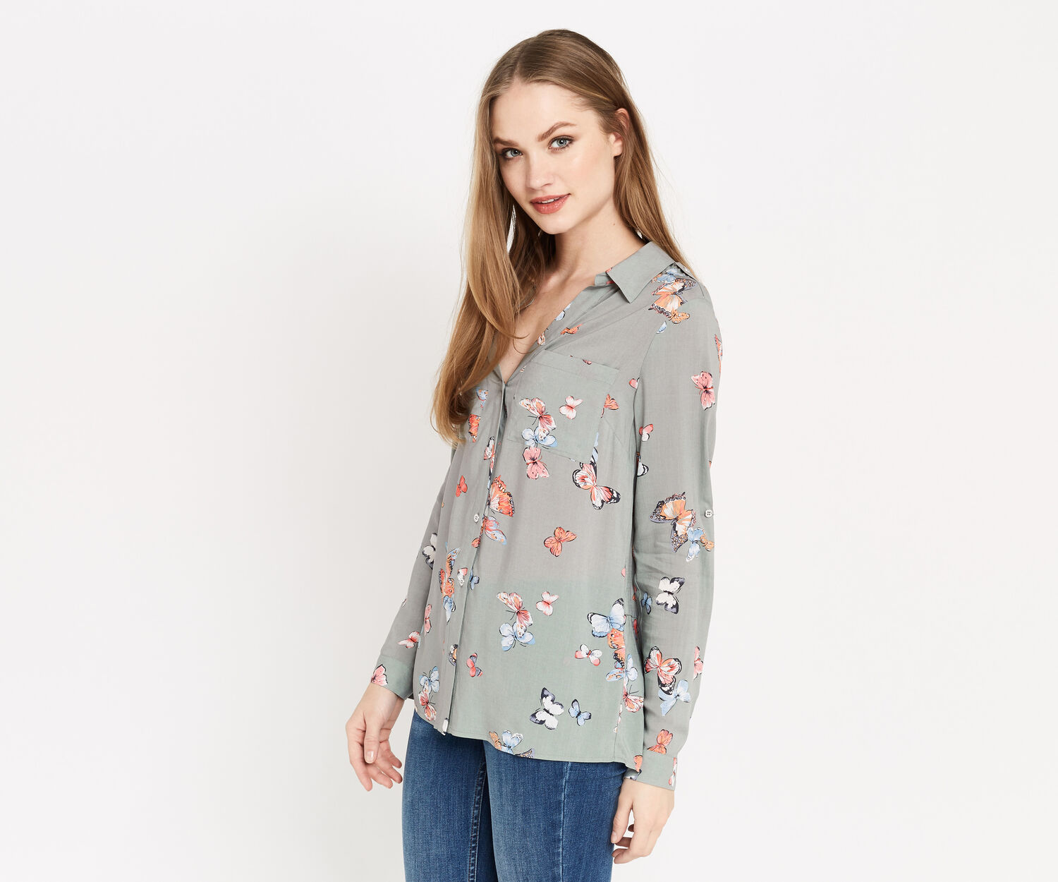 Oasis, CLUSTER BUTTERFLY SHIRT Khaki 1