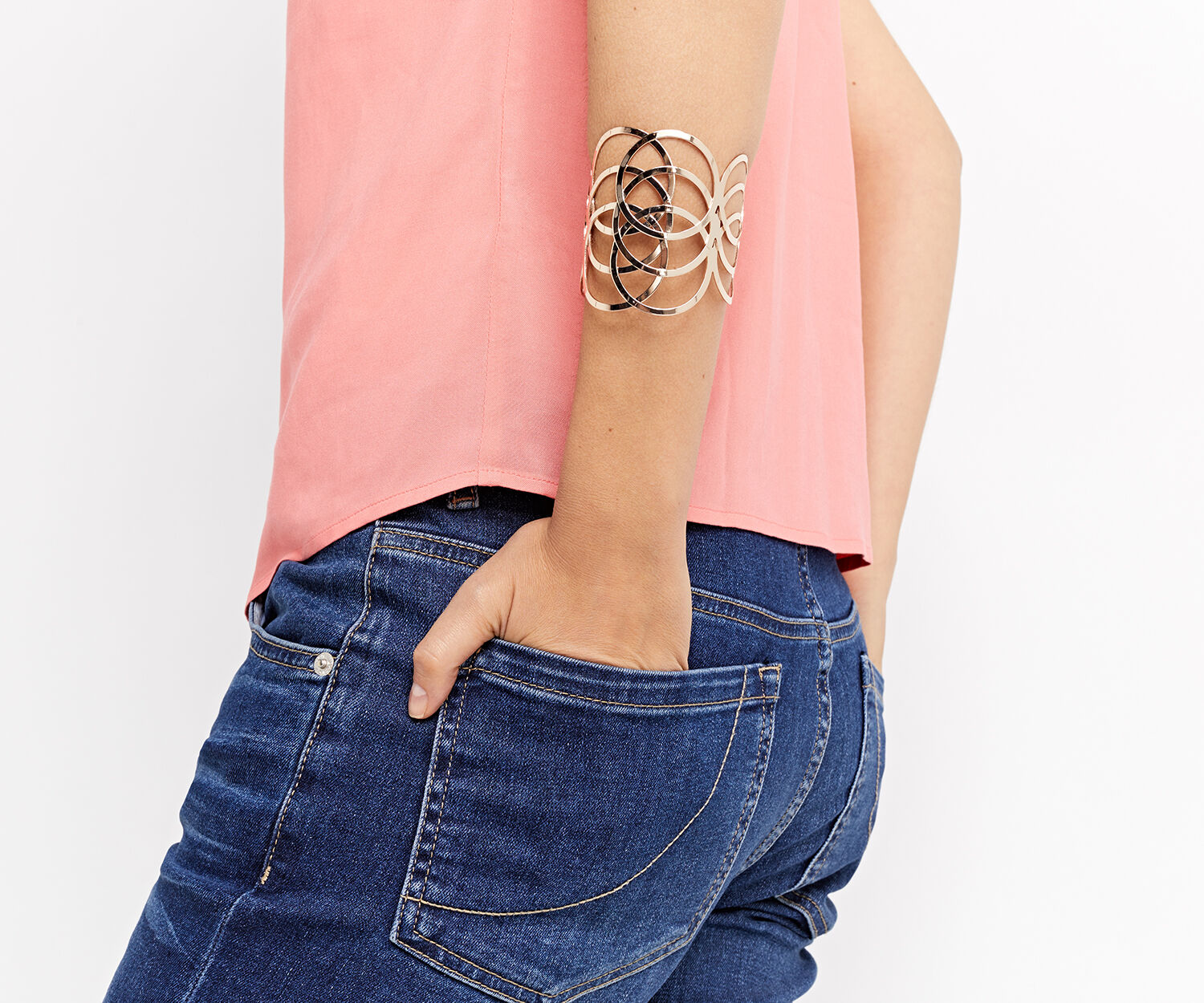 Oasis, CIRCLE LINK CUFF Rose Gold 1