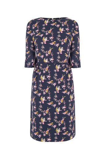 Oasis, LONG LOTUS BIRD DRESS Multi Blue 0