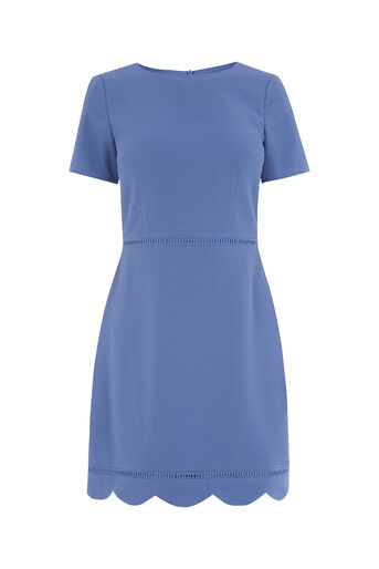 Oasis, SCALLOP SLEEVE DRESS Mid Blue 0