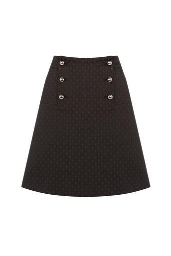 Oasis, 60s Button A-Line Skirt Black 0