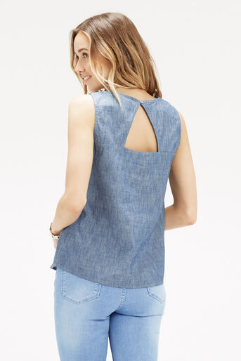 Oasis, Alicia Embroidered Top Denim 3