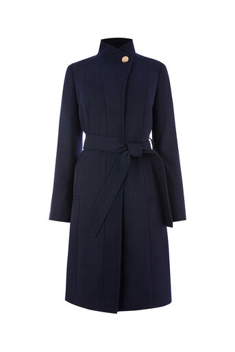 Oasis, LEAHANA LONG FUNNEL NECK COAT Navy 0