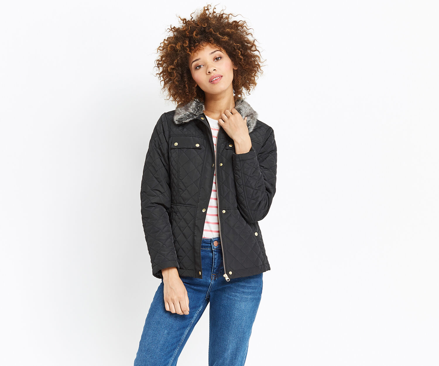 Oasis, QUILTED JACKET Black 1