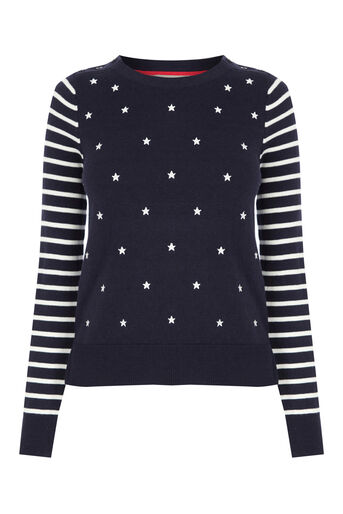 Oasis, EMBROIDERED STAR KNIT Multi Blue 0