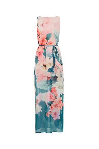 Oasis, FLORAL MAXI DRESS Teal Green 0