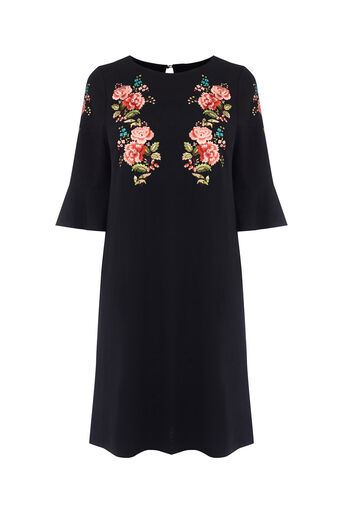 Oasis, EMBROIDERED FLUTE SLEEVE DRESS Multi 0