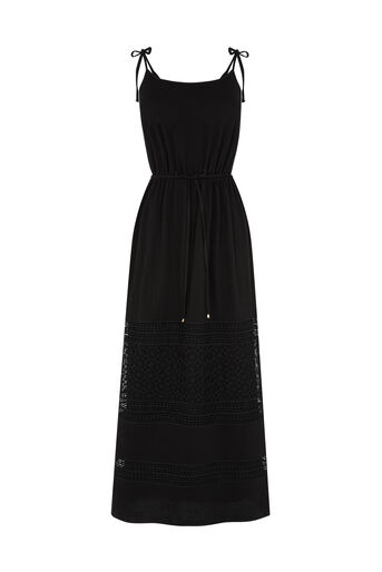 Oasis, Lace Hem Cheesecloth Midi Black 0