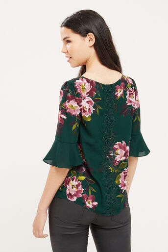 Oasis, PAINTED ROSE FLUTED SLEEVE TOP Multi Green 3