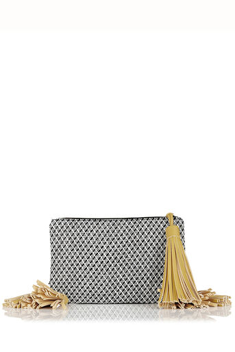 Oasis, Monica Tassel Clutch Bag Black and White 0