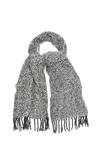 Oasis, CHEVRON BOUCLE SCARF Black and White 0