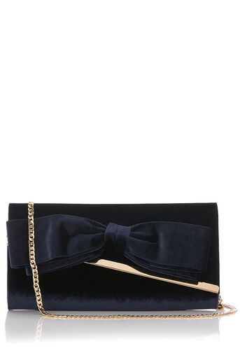 Oasis, BOW VELVET CLUTCH Navy 0