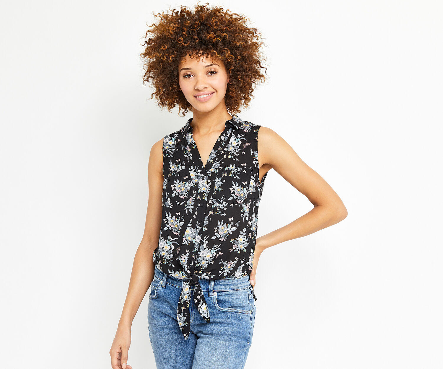 Oasis, MARIE TIE FRONT SHIRT Multi Black 1