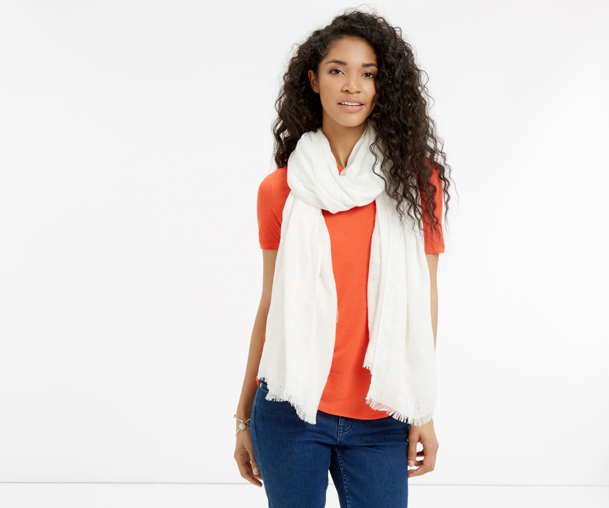Oasis, Sequin Scarf White 1