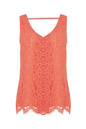 Oasis, Lace V Front V Back Top Coral 0