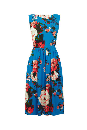 Oasis, LONG ROSE DRESS Mid Blue 0