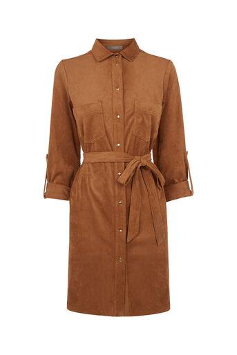 Oasis, Suedette Shirt Dress Tan 0