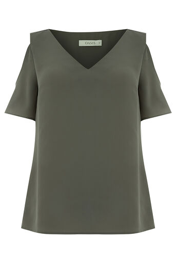 Oasis, COLD SHOULDER FLUTE SLEEVE TOP Khaki 0