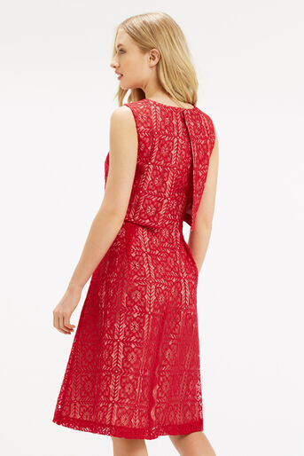 Oasis, Lace 2 In 1 Midi Dress Berry 3