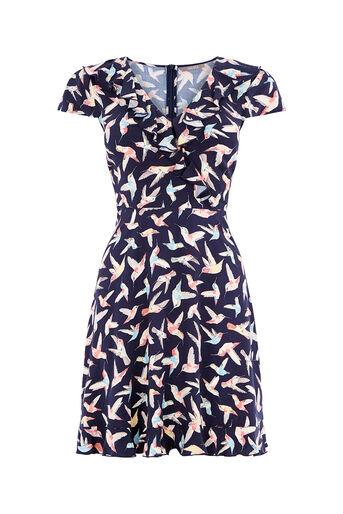 Oasis, HUMMINGBIRD TEA DRESS Multi Blue 0